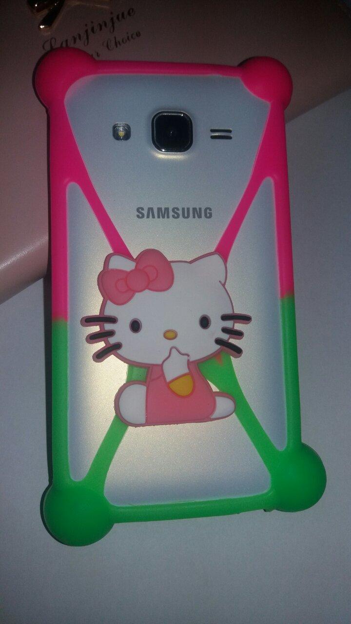 Универсальный 3D чехол-бампер Hello Kitty pink-green