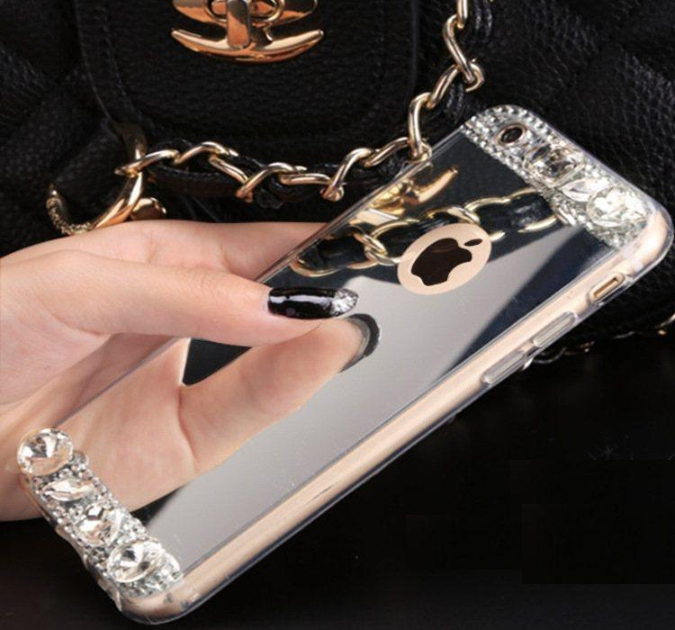 Чехол-накладка TPU Luxury Crystal silver для iPhone 6 / 6S