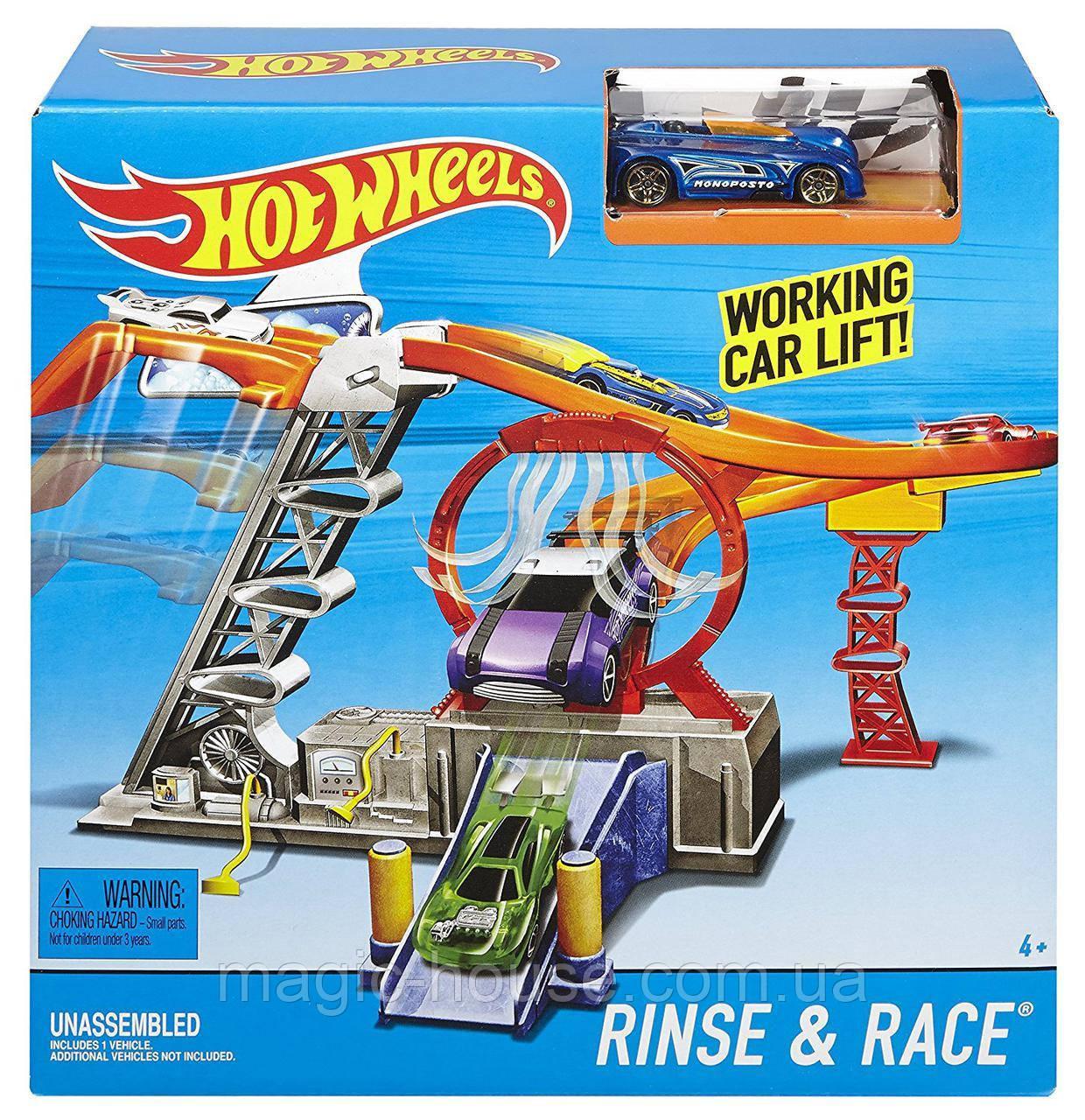 Трек Хот Вілс гонка швидкості автомийка Hot Wheels Rinse & Race Play Set