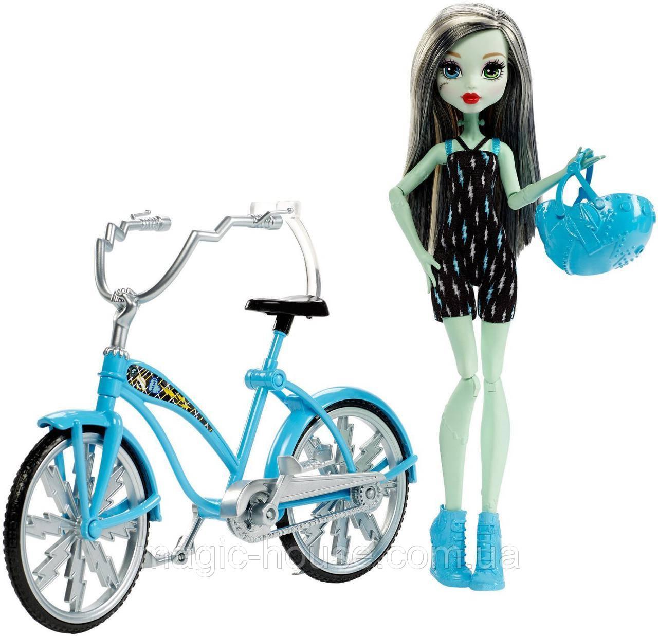 Кукла Монстер Хай Френки Штейн на велосипеде Оригинал от Маттел Monster High Bol Frankie Stein Doll & Vehicle