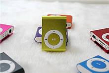 MP3 плеер алюминиевый Клипса + Наушники +USB переходник green (зеленый)