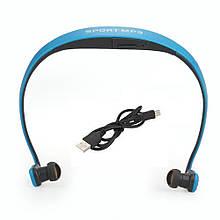 Наушники Sport MP3 Run плеер + Fm blue (синий)