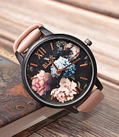 Женские наручные часы с цветами Melov dusty rose