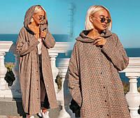 """Стильное женское длинное пальто демисезон 039 """"Шерсть Клетка Миди Капюшон Кнопки"""""""