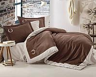 Постельное белье 200х220 Cotton box Сатин с вышивкой SAHA KAHVE