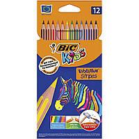 "Набор цветных карандашей  Bic "" Evolution Stripes ® ""  12 цв."