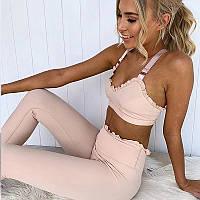 Спортивный костюм женский для фитнеса. Комплект лосины и топ для йоги, спорта, тренировок, размер M (розовый)