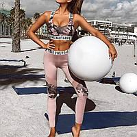 Спортивный костюм женский для фитнеса. Комплект лосины и топ для йоги, спорта, тренировок, размер L (розовый)