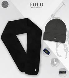 Мужской комплект шапка + шарф Ralph Lauren черного и серого цвета (люкс копия)