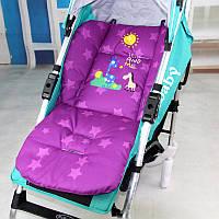 Матрасик с жирафом в коляску, стульчик, автокресло (фиолетовый)