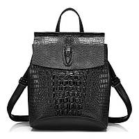 Рюкзак сумка женский городской кожаный с тиснением под крокодила (черный)