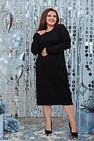 Шерстяное тёпленькое платье  цвет чёрный (52-56), фото 1