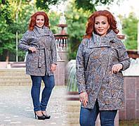 """Женское стильное пальто-кардиган в больших размерах """"Букле Абстракция Косуха Карманы"""""""