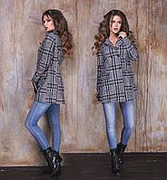 """Женское стильное пальто-жакет до больших размеров 1142 """"Кашемир Клетка"""""""