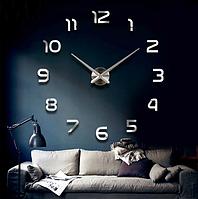 Часы настенные 3D диаметром 50-120 см из акрила Арабские цифры серебро 002Ss