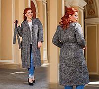 """Женское стильное пальто до больших размеров 41333 """"Твид Классика Пояс"""""""