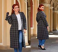 """Женское стильное пальто до больших размеров 41332 """"Кашемир-Шерсть Клетка Классика"""" в расцветках"""