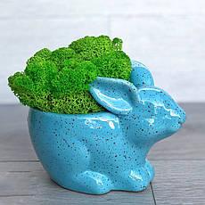 Цветочное кашпо Кролик Зайчик, голубой