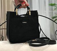 Черная замшевая женская сумка Zara