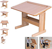 """Стол для школьника для дома письменный """"Розумник"""" ДСП+дерево, фото 1"""
