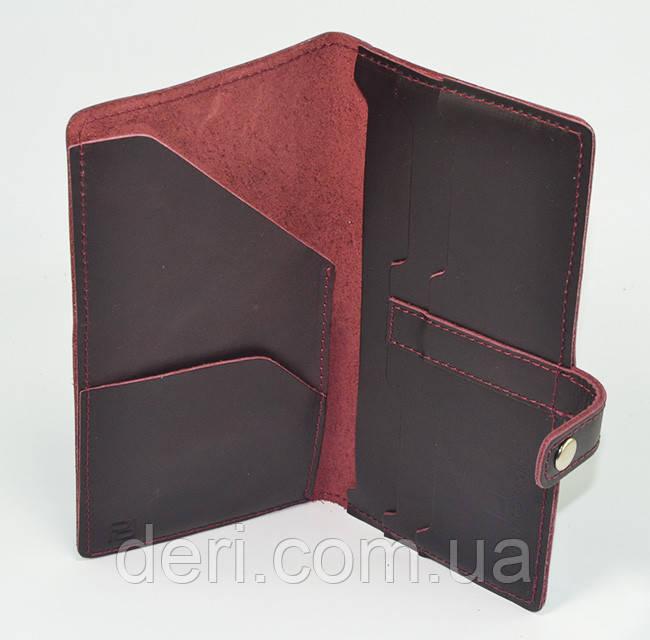 Кожаный тревел-кейс, бордовый