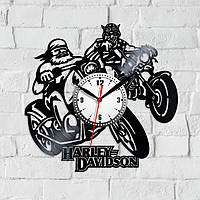 Harley Davidson Виниловые часы Часы с мотоциклами Харли Девидсон Часы в гараж Подарок другу Байк на часах
