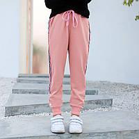 Модные спортивные брюки для девочки Контраст, розовый AKL