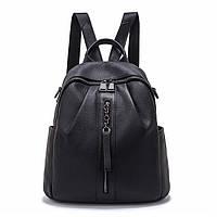 Рюкзак женский городской кожаный. Рюкзак-сумка (трансформер) из натуральной кожи (черный)
