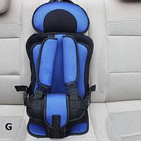 Портативное бескаркасное детское автокресло (синее с черным)