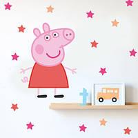 Интерьерная виниловая наклейка свинка Пеппа (наклейки детские мультяшные, звезды, декор на стены) глянцевая
