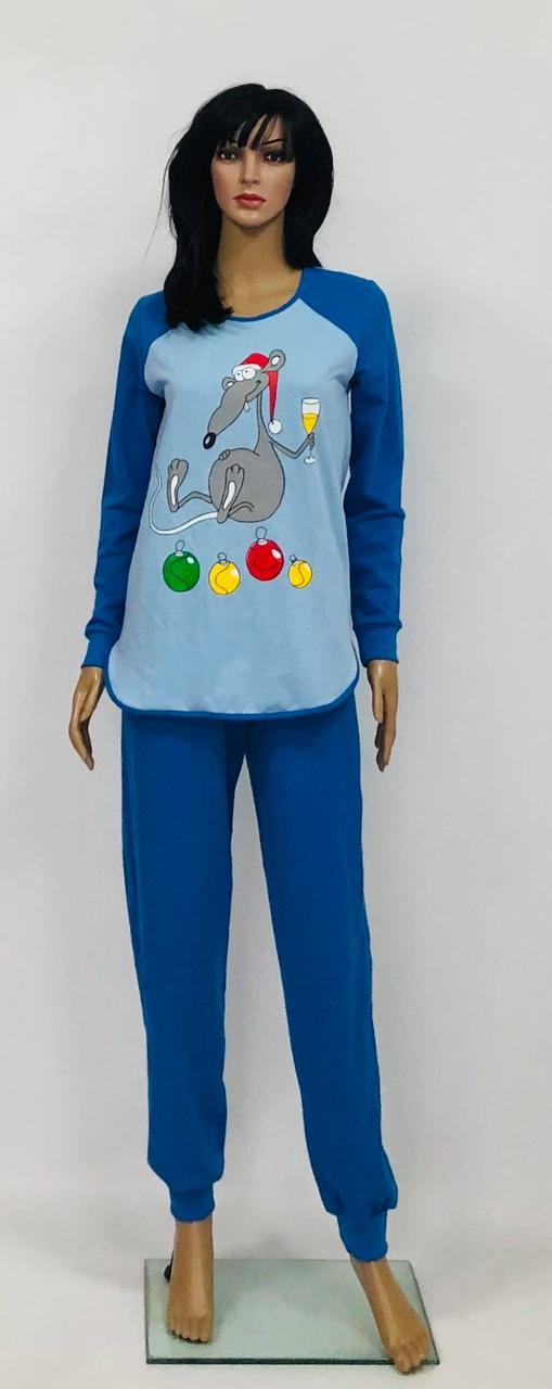Женская теплая пижама с Крысой однотонная