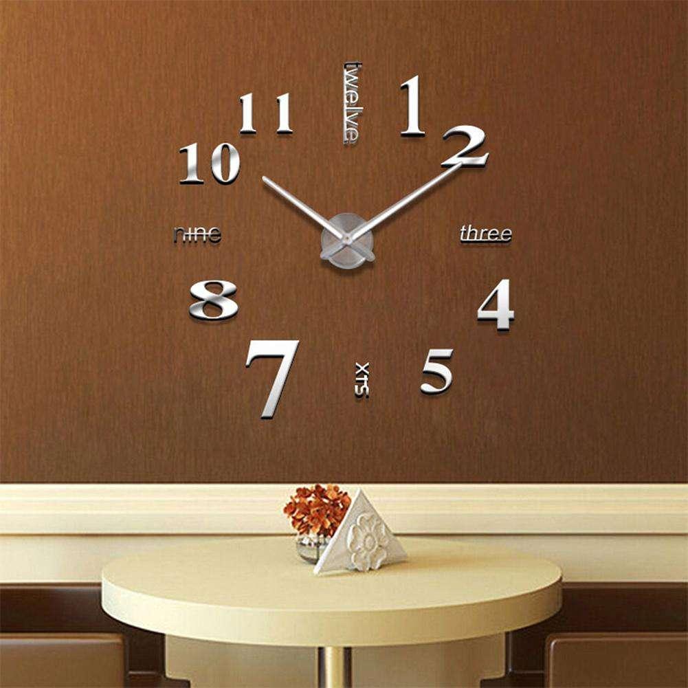 3D Часы на стену 50-120 см Слова серебро 001Ss