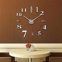 3D Часы на стену 50-120 см Слова серебро 001Ss, фото 1