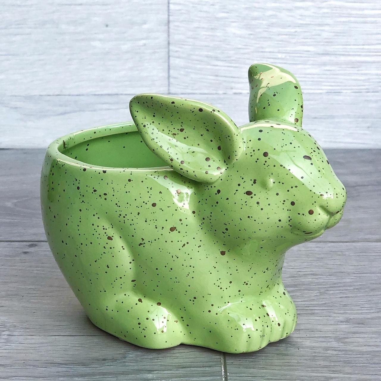 Цветочное кашпо Кролик Зайчик, зеленый