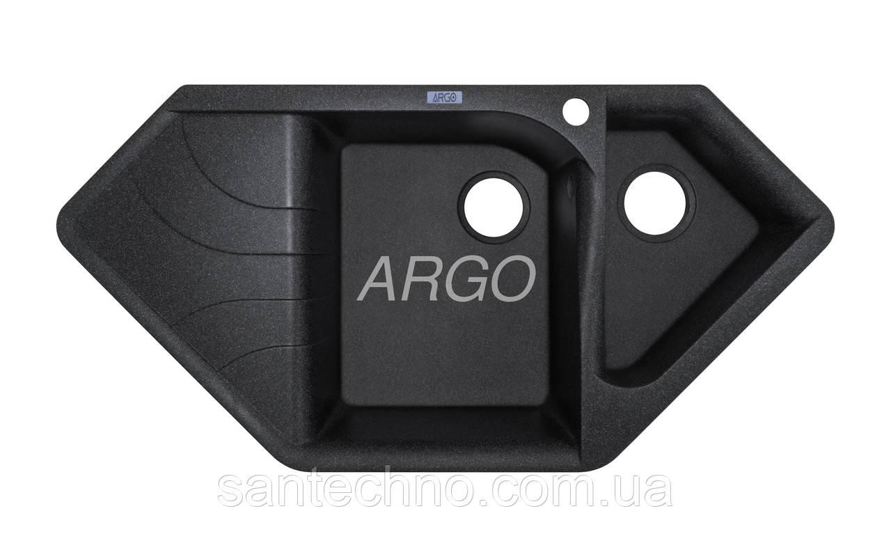Угловая гранитная мойка на две чаши с крылом Арго Angolo Black 1000*500*225