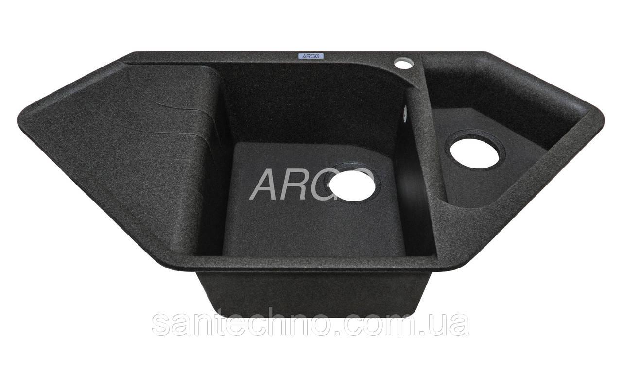 Угловая гранитная мойка на две чаши с крылом Арго Angolo Графит 1000*500*225