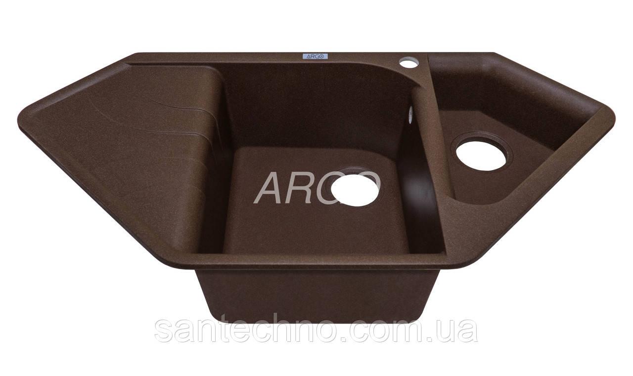 Угловая гранитная мойка на две чаши с крылом Арго Angolo Brown 1000*500*225