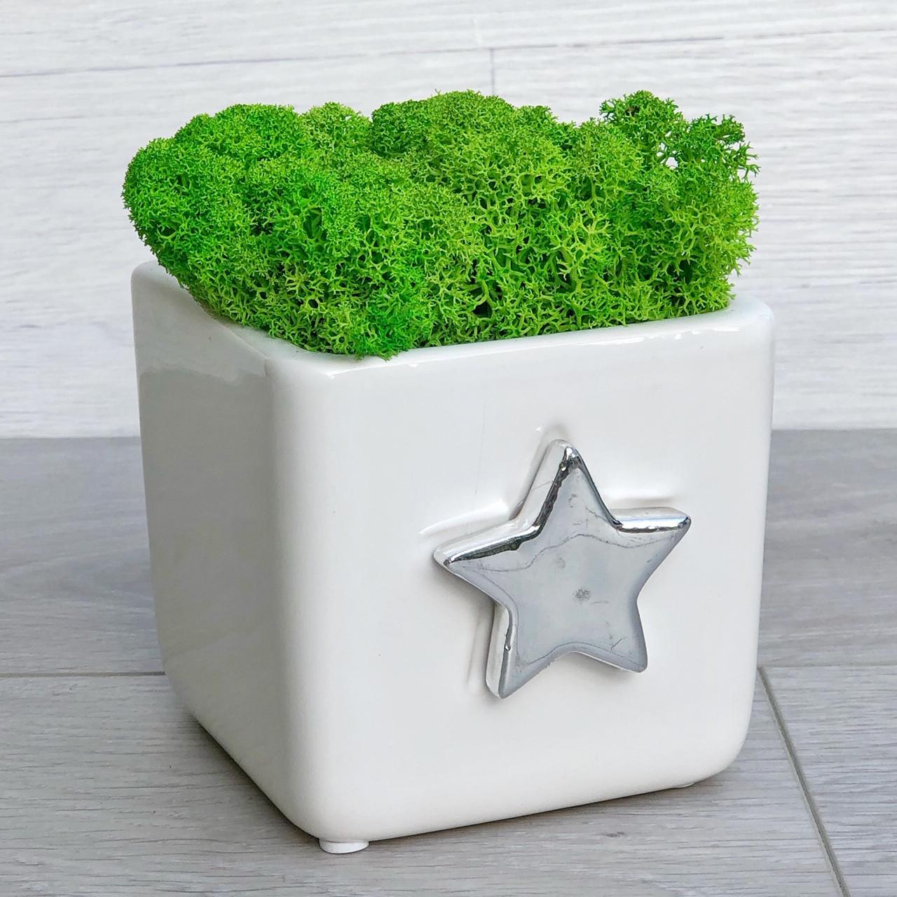 Кашпо для цветов керамическое квадратное со звездой