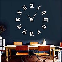 Часы настенные 3Д Римские цифры диаметр 50-120 см Серебро 003Ss