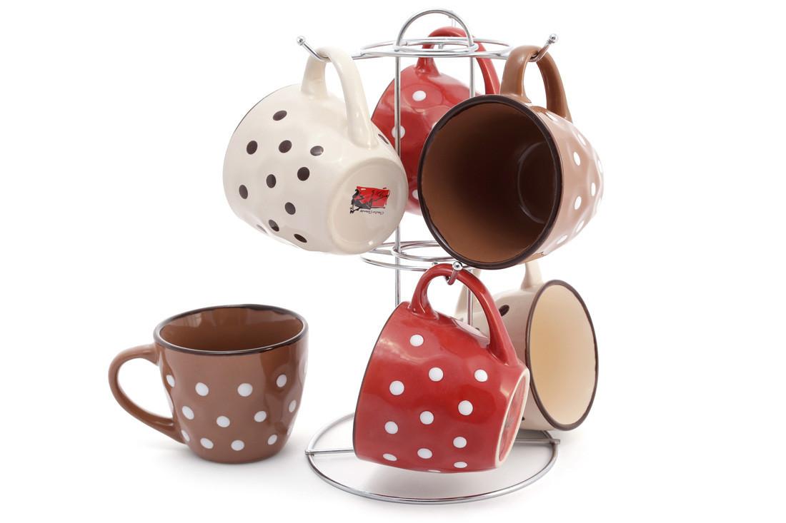 Набір (6шт) кухлів керамічних 240мл на металевій підставці Кава-Крем (344-109)