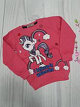 Детский свитшот с начесом для девочки Единорог р.2-5 лет опт