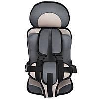 Портативное бескаркасное детское автокресло (серое с бежевым)