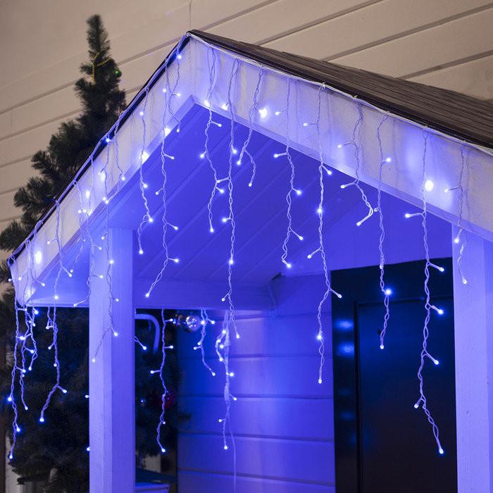 Гирлянда уличная Бахрома, 100 led, синяя, белый/чёрный провод, 5м.
