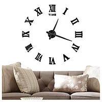 Часы настенные 3Д Римские цифры диаметр 50-120 см Черные003Вs