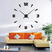 3D часы - наклейка Комбинированные цифры 50-120 см Черный 005Вs