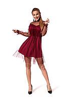 Нарядное женское платье длиной мини из двух тканей, цвет марсала, р.42-44, 46-48
