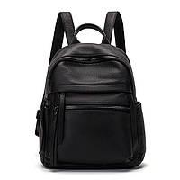 Рюкзак женский городской кожаный. Рюкзак из натуральной кожи (черный)