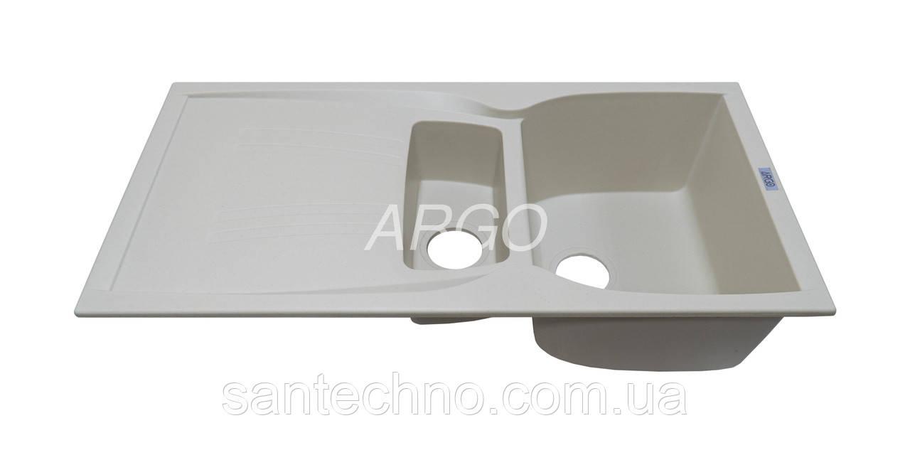Гранітна плита, мийка з крилом Argo Medio Plus Ivory 990*500*235