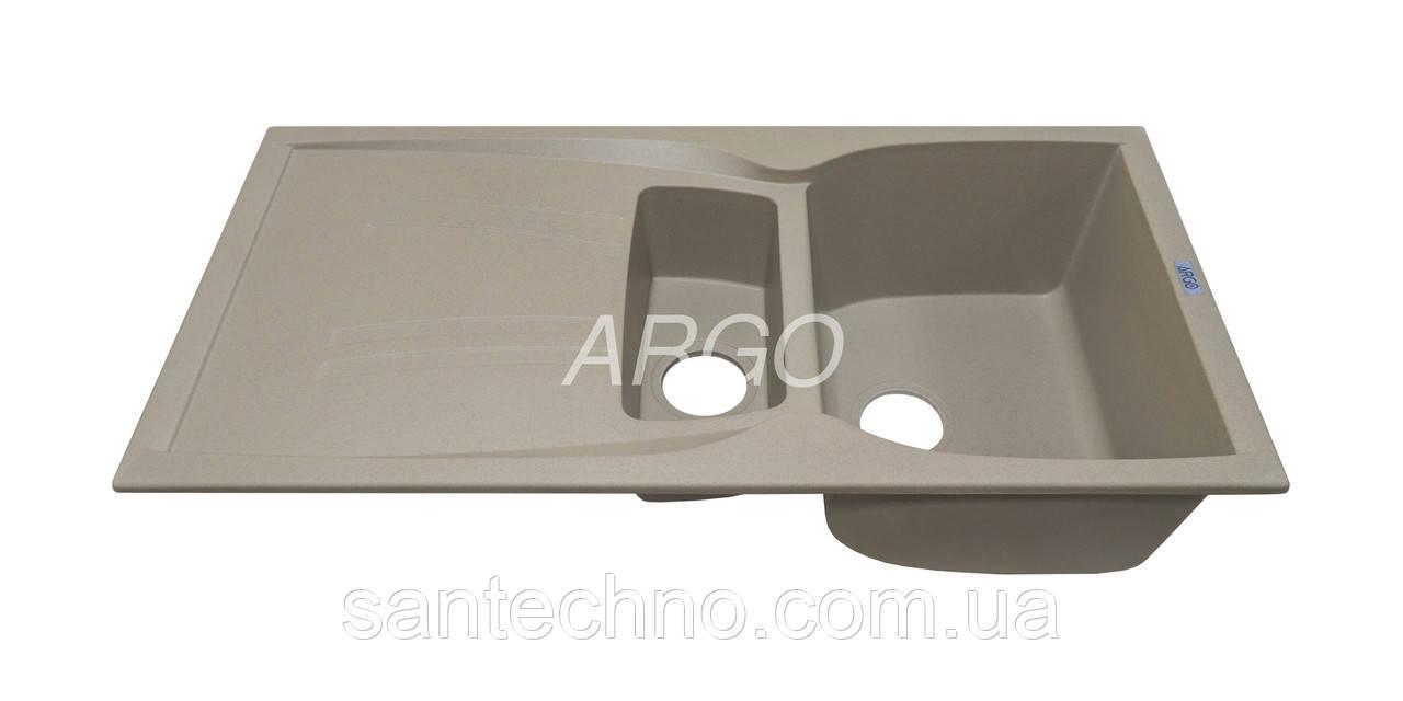 Гранитная кухонная мойка с крылом Argo Medio Plus Sahara 990*500*235