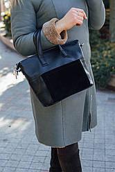 Женская кожаная сумка 45 черный флотар/замша 014501-0501